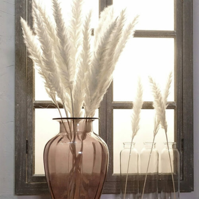 15Pcs Bulrush Natural Dried Flowers Small Pampas Grass Phragmites DIYArtificial Flowers Plants For Decor Home Wedding Decoration