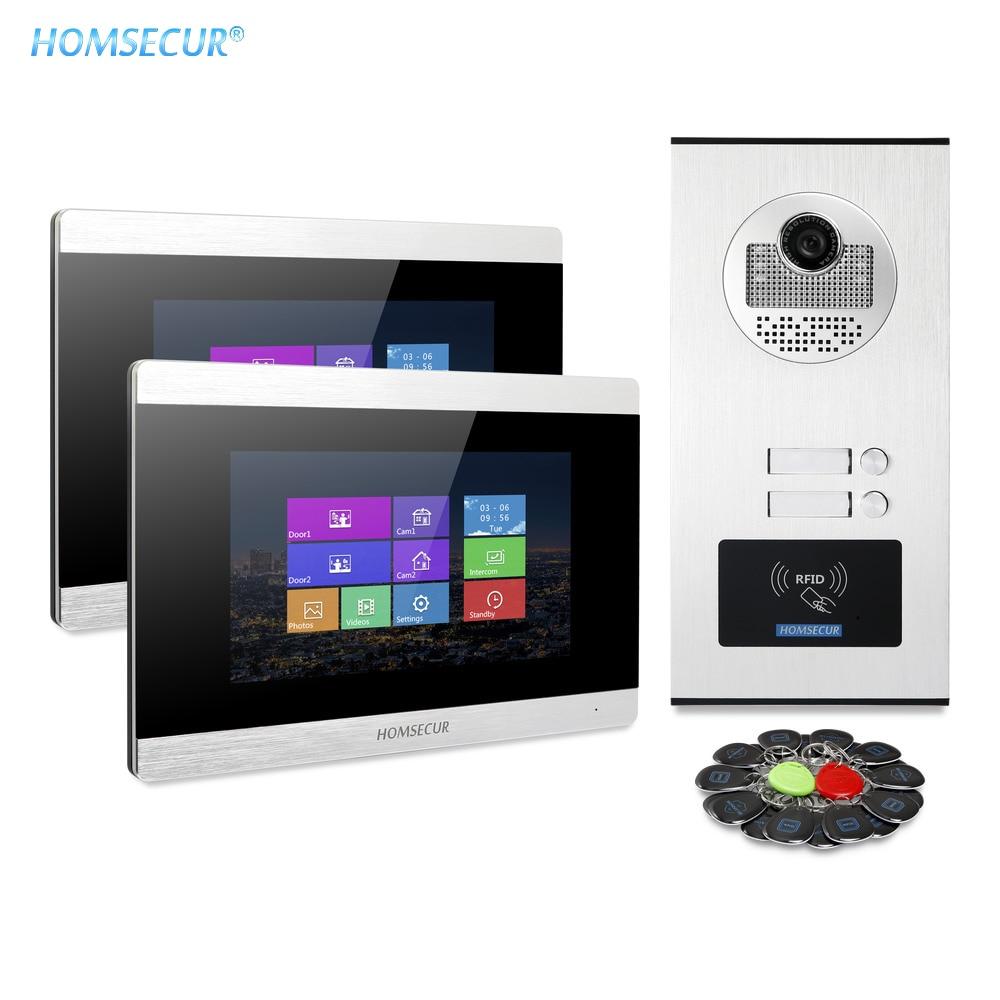 HOMSECUR Video Door Phone Intercom System+Recording & Snapshot For 2/3/4 Apartment  XC111-2/3/4+BM715-S