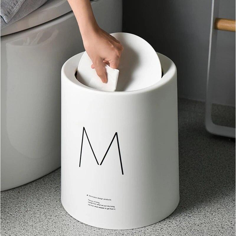 Cubo de plástico nórdico para basura, Cubo de almacenamiento, cesta de papel para el hogar y la Oficina, cubo de basura de plástico mate sencillo Nórdico