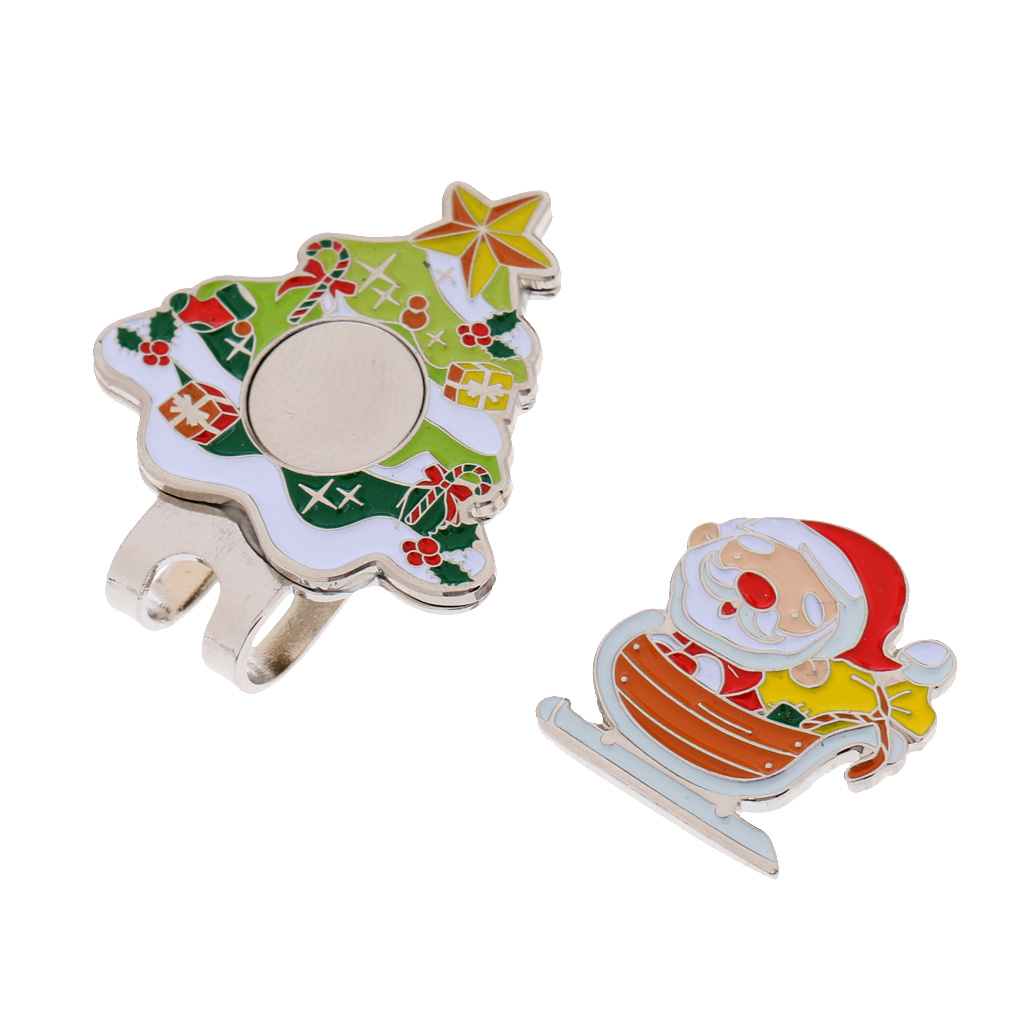 Sturdy Santa Claus Magnetic Hat Cap Visor Clip-on Golf Ball Marker Christmas Gift