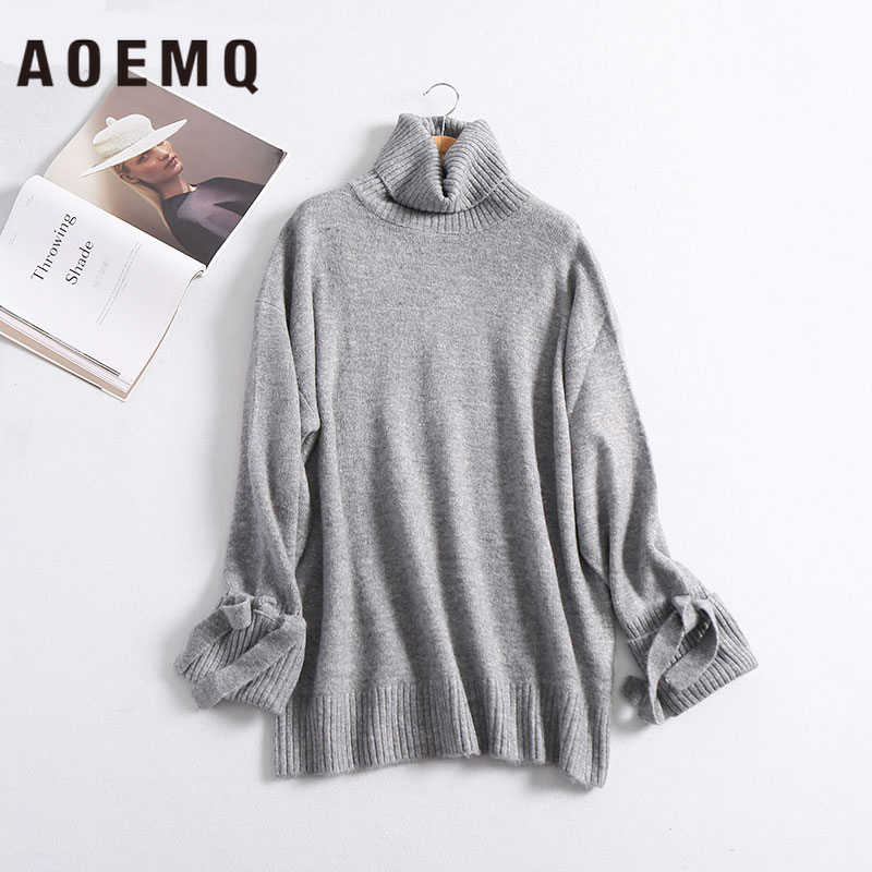 AOEMQ Winter Sweater Solid Striped Casual Home Wear Keep Warm Sweater Thick Hand Made Sweater with Ribbon for Women Clothing