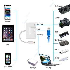 Image 5 - 3 ב 1 עבור iPhone כדי LAN Wired טלפון סלולרי נטו מתאם USB 3.0 מצלמה RJ45 Ethernet OTG כבל מתאם עבור iPhone 11 X XS 8 7