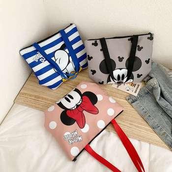 Bolso de mano para mujer de Disney, bolso de hombro con dibujo de mickey mouse, bolso de tela Oxford, bolso de compras de Minnie