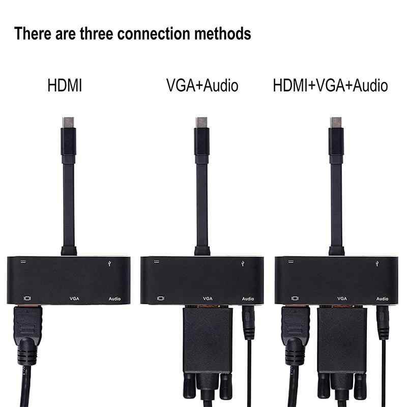 Hub type-c USB 3.1 Station d'accueil vers HDMI/VGA/Audio/USB 3.0 Port + Port de USB C (PD) convertisseur pour Macbook pour commutateur nessa
