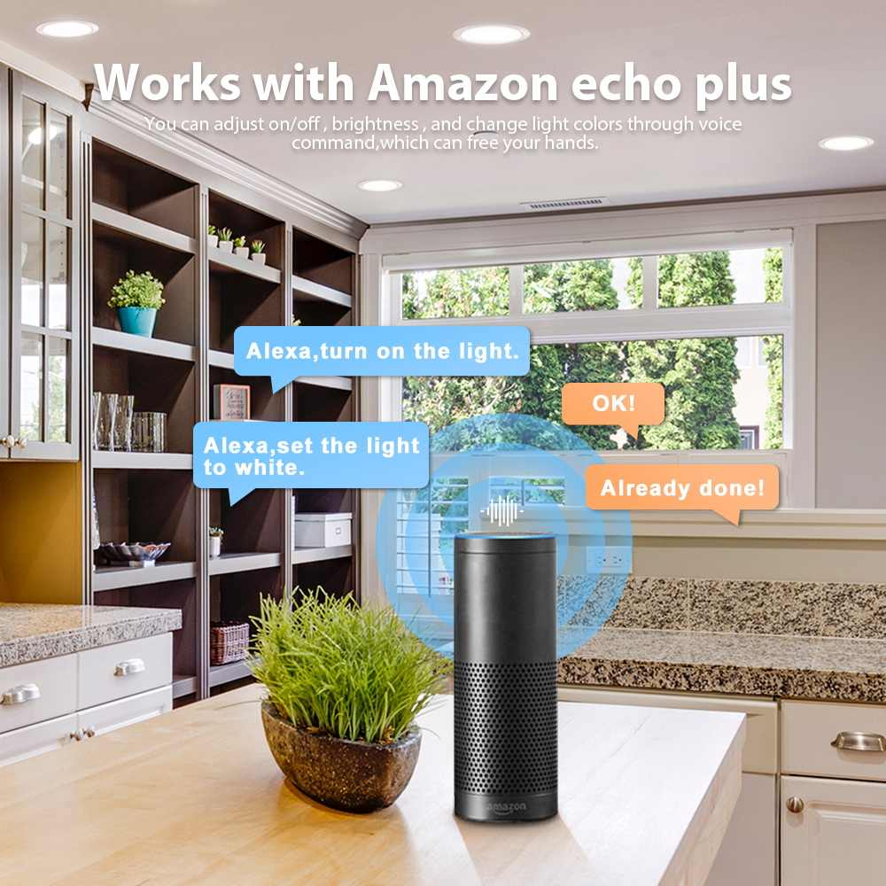 Paquet de 4 projecteurs ZigBee samrt gu10 rgb + cct ampoule fonctionne avec moyeu zigbee 3.0 Amazon Alexa echo plus télécommande vocale 4W