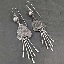 Vintage Long Tassel Metal Silver Color Drop Earrings Bohemian Ethnic Plant Leaf Pearl Dangle Earrings For Women Jewelry P4D411 metal leaf layered drop earrings