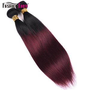 Image 3 - FASHION LADY Pre Colored Indian Hair Ombre Human Hair Bundles T1B/99J Straight Hair Weave 3 Bundles Per Pack Non Remy