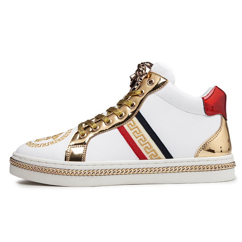 Autumn Classic Hip Hop Shiny Embroidered Shoes Men Glitter Shoes Fashion White Embroidery High Top Platform Board Sneakers Men