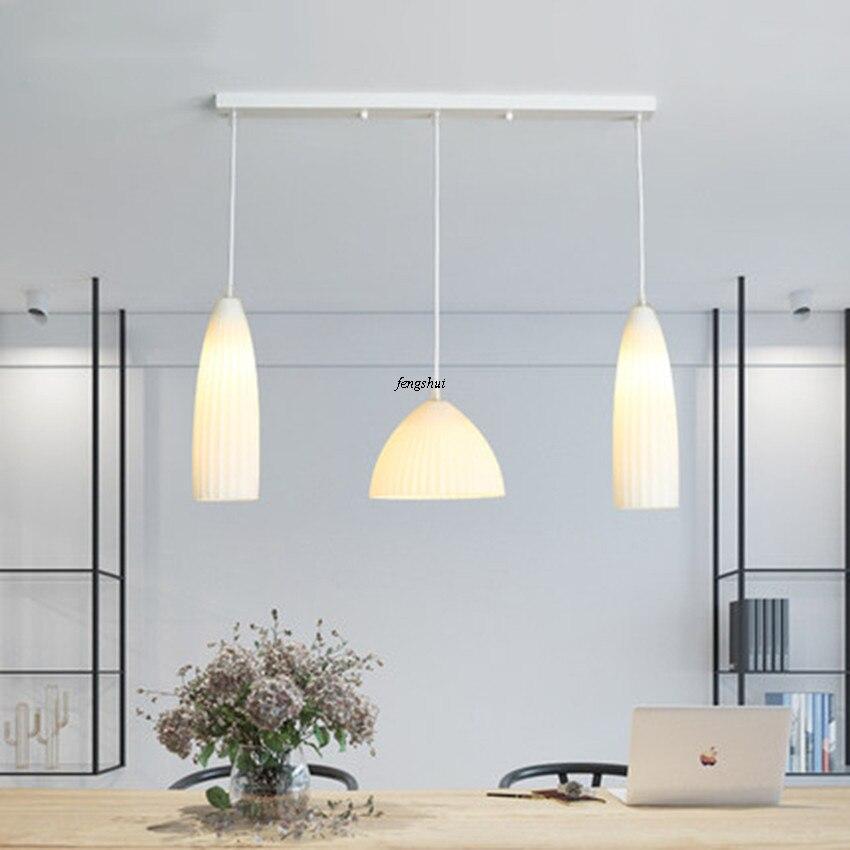 Modern LED Three headed Restaurant Pendant Lights Personality Glass Pendant Lamp Living Room Bedroom Hanging Lamp Light Fixtures|Pendant Lights| |  - title=
