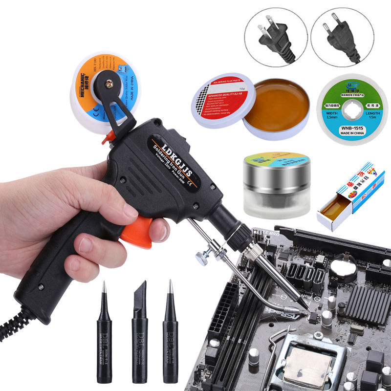60W 110V 220V Handheld Electric Soldering Iron Kit EU US Automatic Send Tin Gun With Solder Wire Tips Welding Tools Set