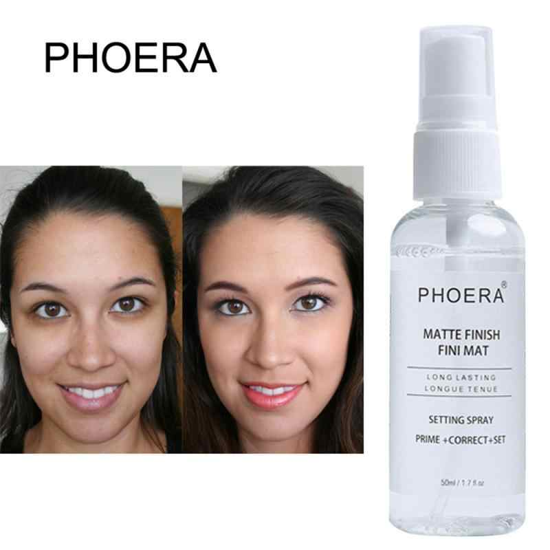 Phoera 50 Ml Makeup Setting Spray Matte Botol Setting Spray Minyak-Kontrol Alami Tahan Lama Membuat Memperbaiki Foundation semprot TSLM1
