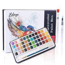 48 Colors Solid Watercolor Paint Gift Box Set With 12 Pearlescent Colors Suitable For Beginners Student Artists Drawing Supplies