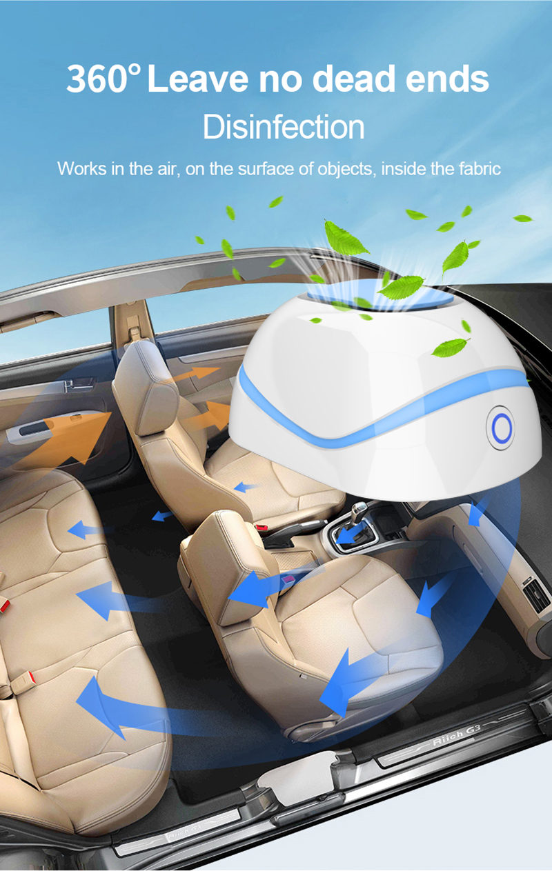 Portable Car Air Purifier & Ozone Generator Odor Eliminator Plug-In O3 Anti Disinfector Deodorizer Ozonizer Ionic