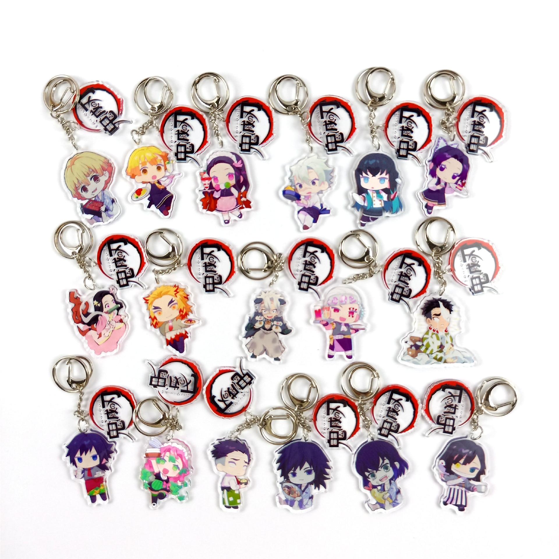 New 18Styles Demon Slayer Kimetsu No Yaiba Kamado Nezuko Zenitsu Giyuu Sanemi Keychain Blade Of Ghost Keyring Acrylic Key Chains