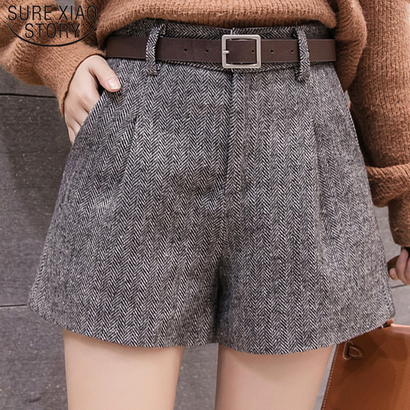Casual Women Clothing Autumn And Winter High Waist Shorts 2019 New Fashion Women Shorts  Sashes Pockets Wide Leg Shorts 5636 50
