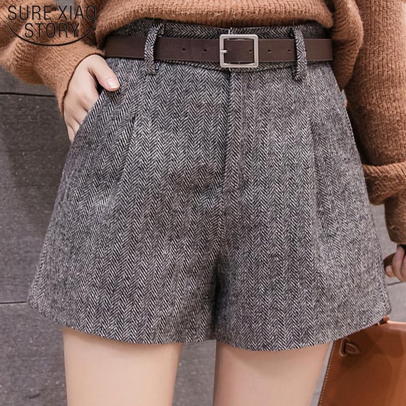 Casual Women Clothing Autumn And Winter High Waist Shorts 2019 New Fashion Women Shorts  Sashes Pockets Wide Leg Shorts 5636 50
