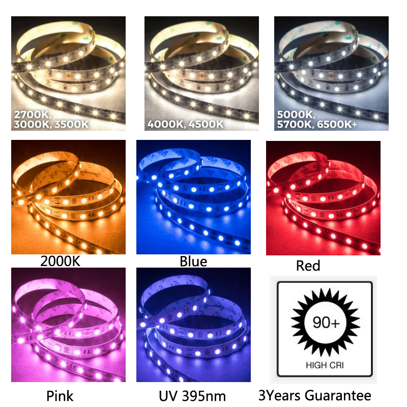3Years Guarantee  CRI+90  LED Strip Lighting 24V 14W/m 120LED/m White Warm White Blue Yellow UV  For Light Project