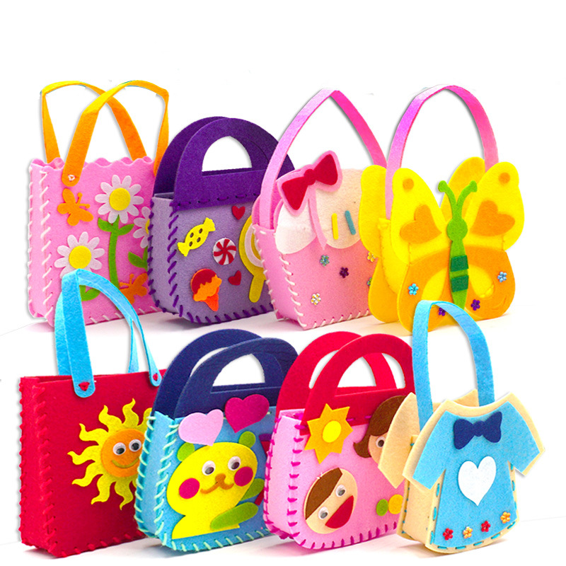 1pc Arts And Crafts For Kids Non-woven DIY Bag Material Handmade Package Manual DIY Kindergarden Children Art Class Kids Craft