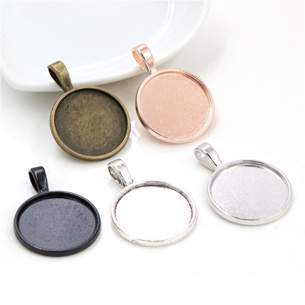 10pcs 20mm Inner Size 5 Classic Colors Plated Classic Style Cabochon Base Setting Charms Pendant