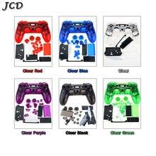 JCD pour PS4 V1 contrôleur boîtier complet coque housse Mod Kit boutons pour Sony Playstation 4 PS4 JDM 001 011,Transparent clair