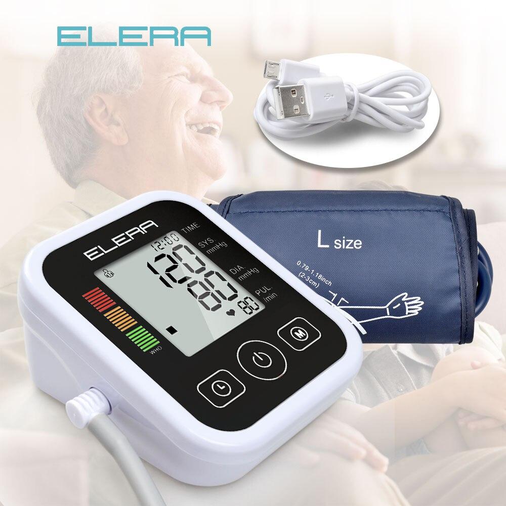 ELERA Automatic Digital Upper Arm Blood Pressure Monitor Sphygmomanometers Heart Beat Rate Pulse Meter Tonometer Pulsometer