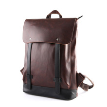 Vintage Men Hasp Backpack Fashion Retro Crazy Horse Leather Backpacks Men's Bag Travel Backpack PU Backpack For Student