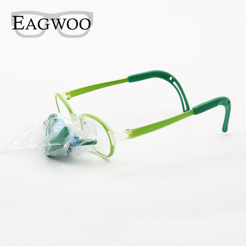 Image 2 - Eagwoo Silicon Soft Eyeglasses Children Optical Frame Little Boy Girl Glasses Temple with Adjustable String GreenMens Eyewear Frames   -