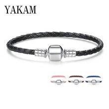 Роскошный фирменный браслет Pandora, 7 цветов, кожаная цепочка, очаровательный прекрасный браслет для женщин и девушек, подарки, модное ювелирное изделие
