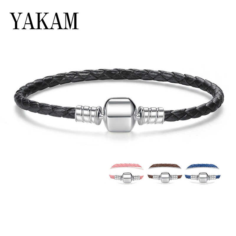 Luxury Brand Fit Original Pandora Bracelet 7 Colours Leather Chain Charm Fine Bracelet for Women Girl Gifts Fashion Jewelry 2019