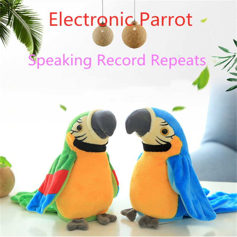 Electronic Talking Parrot Toy Cute Speaking Record Repeats Waving Wings Electroni Bird Stuffed Plush Toy Kids Birthday Gift 21cm