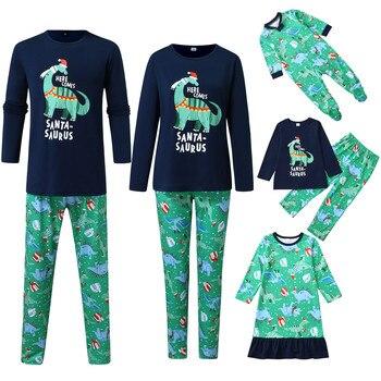 Pijamas de navidad familiar ropa a juego con estampado de dinosaurio blusa Tops pantalones familia ropa de navidad pijama