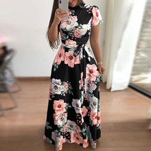 ZOGAA 2019 Dress Fashion Women O-Neck Floral Printed Short Sleeve Empire Sashes Casual Bandage women party dress