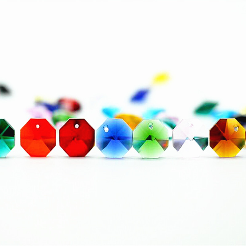Free Shipping 500pcs/lot Top Quality Multicolor 14mm Crystal Glass Octagon Beads With One Hole For Crystal Chandelier Lamp Parts