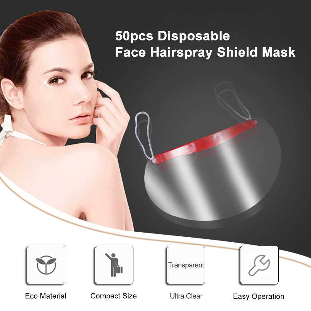 50 piezas desechables cara laca escudo máscara Bang Trimmer de la herramienta de corte de pelo herramientas Escudo de salón de pelo cara máscara de protección
