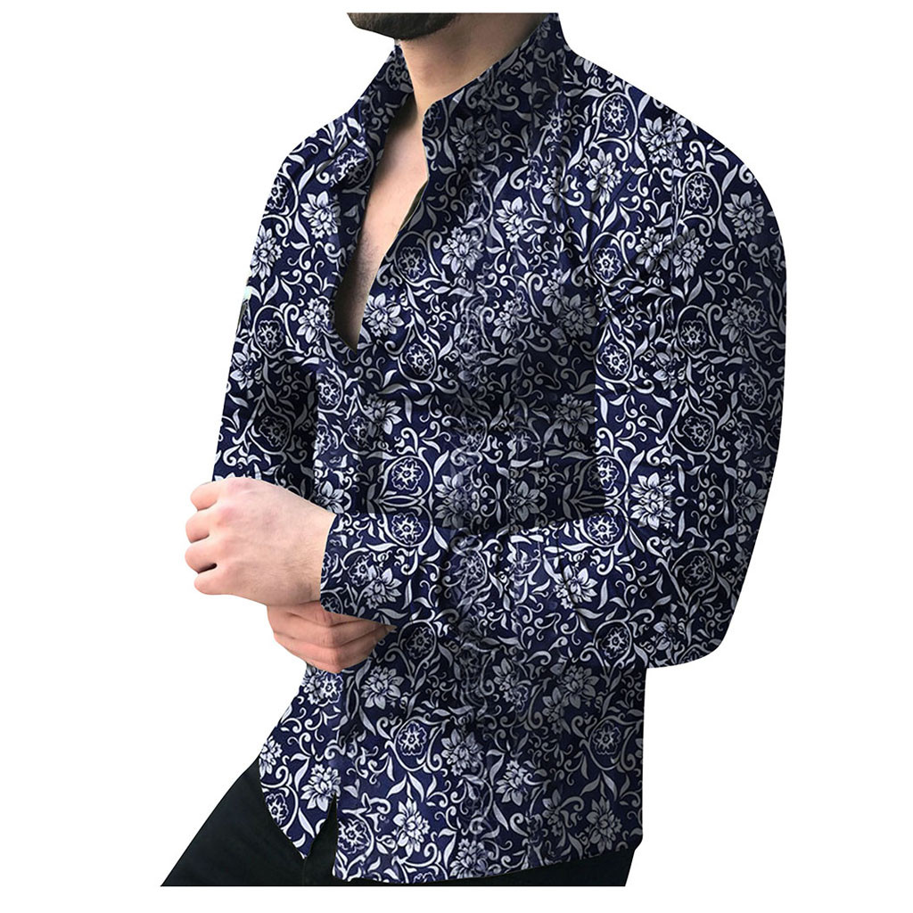 New Fashion Men's Luxury Stylish Casual Shirts Fashion Men's Casual Printed Floral Long Sleeve Button Shirt Top Blouse M-5XL