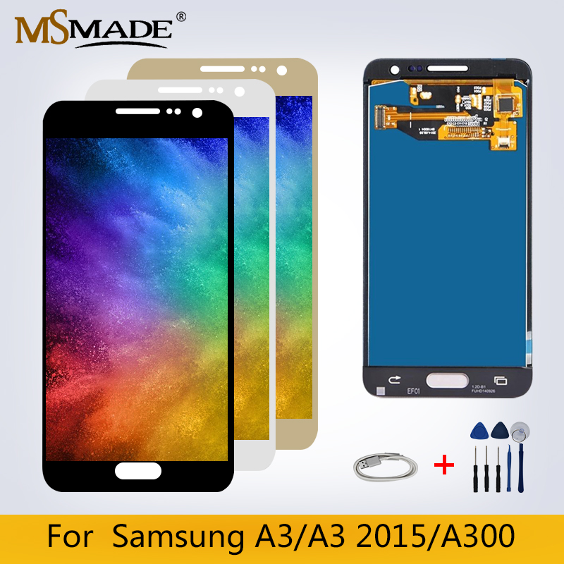 A3 <font><b>LCD</b></font> For <font><b>Samsung</b></font> Galaxy A3 2015 <font><b>A300</b></font> A3000 A3 <font><b>LCD</b></font> Touch Screen Digitizer Display Replacement Parts For A3 2015 <font><b>A300</b></font> Display image