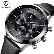 LAVAREDO למעלה מותג יוקרה Mens שעונים זכר שעונים תאריך שעון עור רצועת קוורץ עסקי גברים שעון מתנה A7