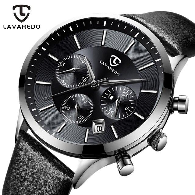 LAVAREDO Top Merk Luxe Heren Horloges Mannelijke Klokken Datum Klok Lederen Band Quartz Business Mannen Horloge Gift A7