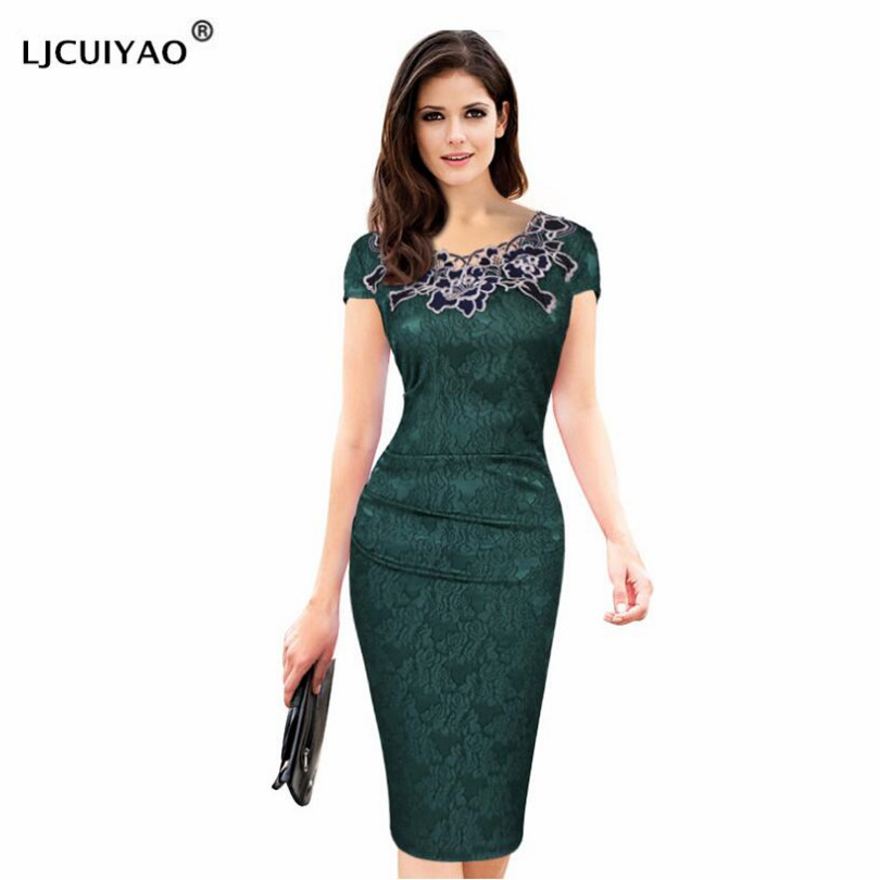 LJCUIYAO Office Ladies <font><b>Dresses</b></font> <font><b>Elegant</b></font> Womens <font><b>Sexy</b></font> Lace Hollow Out Knee Length Work Office Business Sheath Bodycon <font><b>Dress</b></font> <font><b>XXXL</b></font> image