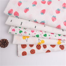 Cotton double-layer crepe fruit printing cotton fabric home service scarf baby saliva towel blanket gauze woven fabric