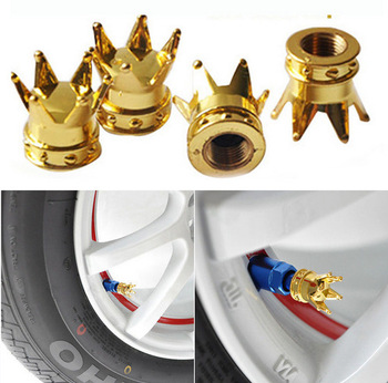 Universal Crown Style Car bike Tire Air Valve Bicycle Stem Cap Automobiles Wheel Tyre Stem Air Valve Dust Covers Accessories image