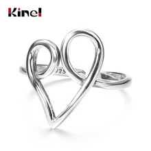 Kinel 925 Sterling Silver bijoux Finger Ring Simple Heart Rings for Women Wedding Engagement 925 Silver Jewelry slovecabin real 925 sterling silver link chain lock finger rings for women vintage napkin wedding rings for women bijoux female