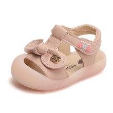DIMI 2020 yeni yaz bebek kız ayakkabı sevimli yay kız yürümeye başlayan prenses sandalet kapalı ayak yumuşak Pu deri bebek ayakkabıları kız için