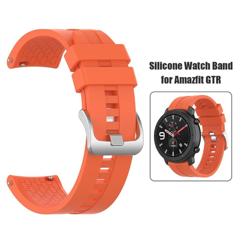 Portable Width 22mm Silicone Watch Band Wrist Strap with Steel Buckle Perfect <font><b>Fit</b></font> for <font><b>Amazfit</b></font> GTR 47mm Wearing Comfort Dropship image