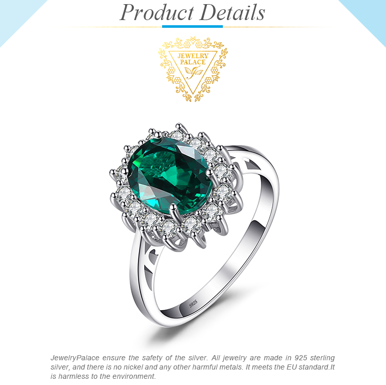 He5b979b941b442479c90a8088ffbb8263 JewPalace Princess Diana Simulated Emerald Ring 925 Sterling Silver Rings for Women Engagement Ring Silver 925 Gemstones Jewelry