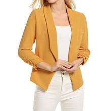 Women Blazers and Jackets 3/4 Sleeve Blazer Open Front Short Cardigan Suit Jacket Work Office Coat Summer Fall Outwear