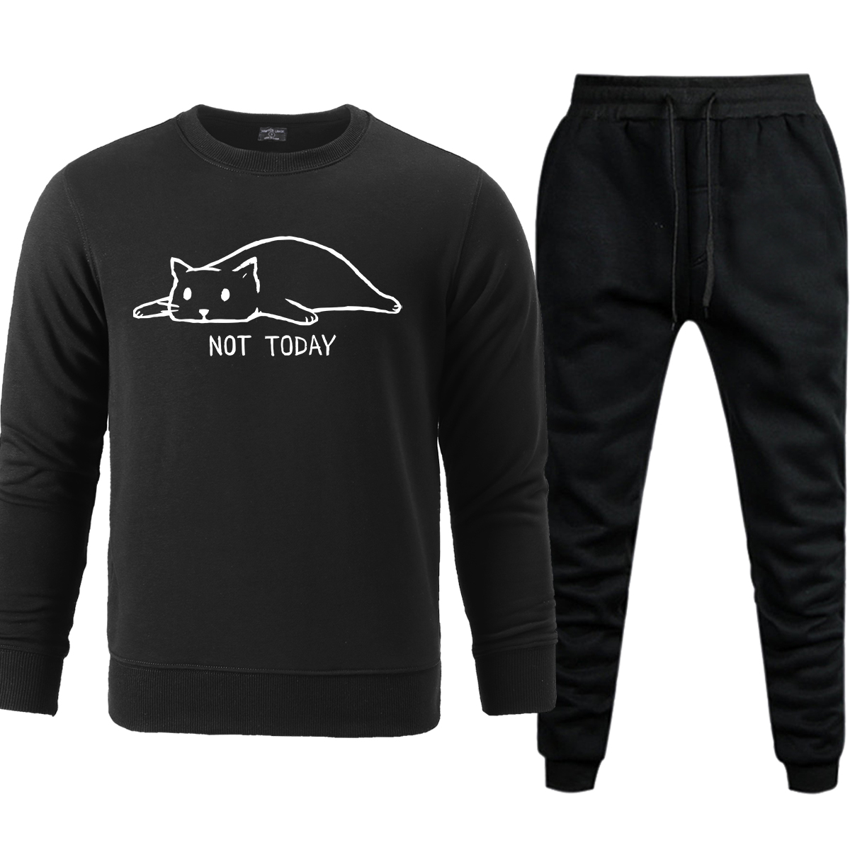 NOT TODAY Lazy Cat Sweatshirt Pants Men Sets 2019 Autumn Winter Warm Casual Mens Set Pullover Sweatshirts Sweatpants Pant Hoodie