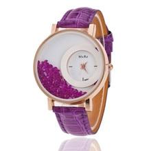 Watches Women Leather Quartz Wristwatches Fashion Crescent Personality Diamond B