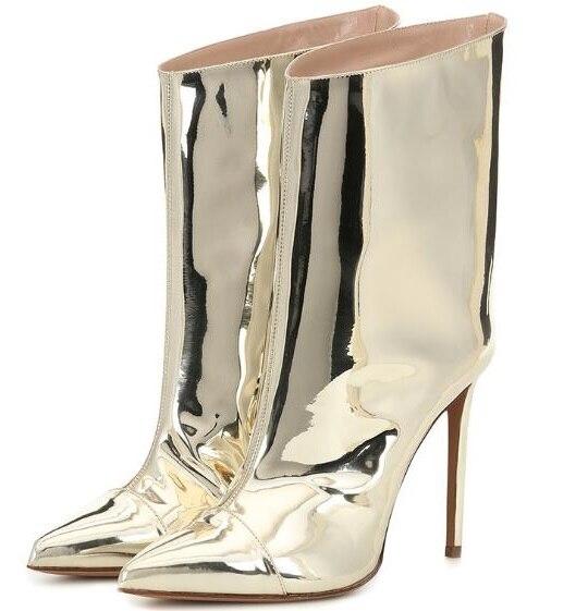 Cuir verni or clair femme miroir bout pointu talons fins mi-mollet bottes courtes talons Sexy Plus chaussons dame livraison directe