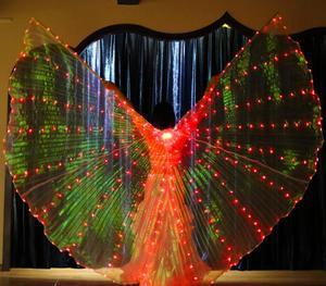 Image 2 - Женский белый костюм с крыльями ангела, светодиодами Isis, с палочками, золотой цвет, аксессуар для костюма Bellydance, 360, бесплатная доставка
